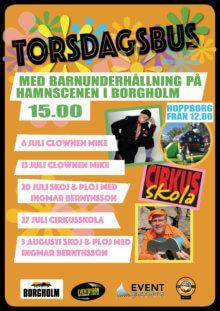 Torsdagsbus med barnunderhållning på hamnscenen i Borgholm!