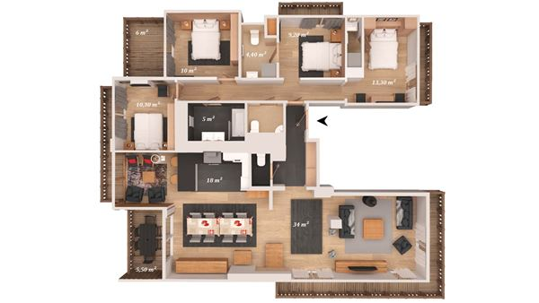 5 rooms 8 people / ASPEN B31 (Mountain of Dream)