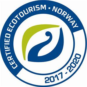 Dette er bildet av en logo som stor at de er certified ecotourism Norway 2017 - 2020