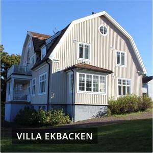 Villa Ekbacken. Tvåvåningshus med ljus panel och brutet tak.