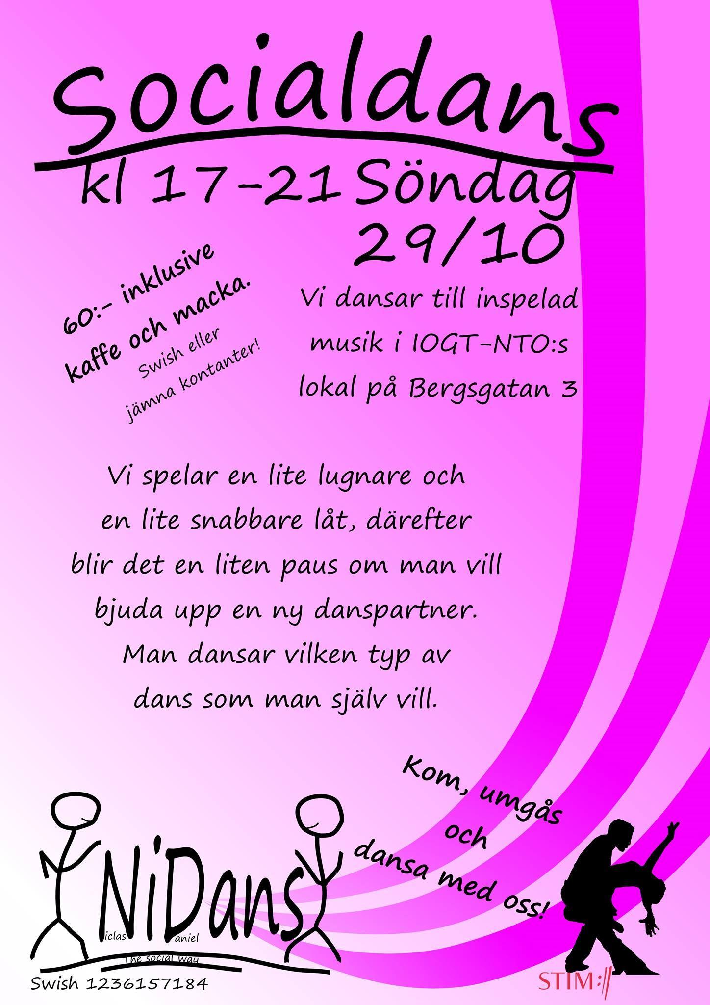 Socialdanskväll i IOGT-NTO:s lokal