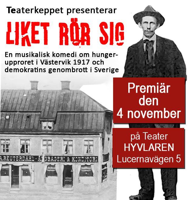 """Föreställning: """"Liket rör sig"""" på Teater Hyvlaren"""