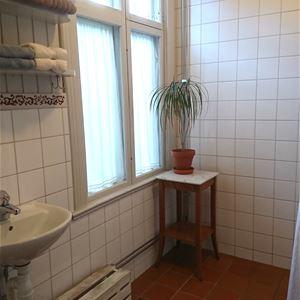 Jonas Gladh,  © Glada Villan, I badrummet med ingång från dubbelrummet finns handfat, toalett och dusch.