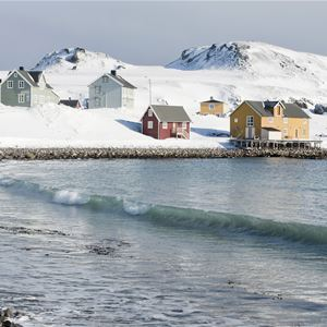 Bilde av Kongsfjord på vinteren, med en dame som går å stranden.