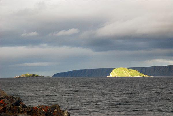 Utsikt mot havet, å ut i havet treffer sola en liten øy som titter opp av havgapet. Sol lyset treffer bare den, får bildet til å se magisk ut.