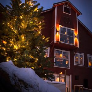Bildet er tatt fra brygga uten for Båtsfjord brygge i Båtsfjord. Bygget er rødt og stort, stilen passer svært godt inn i fiskeværet. Bildet er tatt på vinterstid med et juletre utenfor.