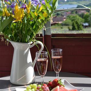 Fruktfat, två vinglas och blommor i en kanna står på ett balkongbord med utsikt över Siljan.