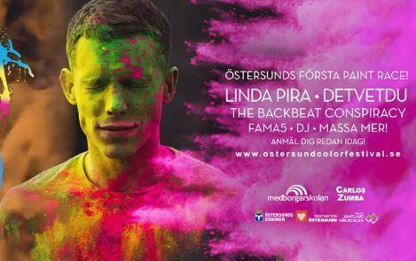 © Östersund Color Festival, Pojke med färg i ansiktet