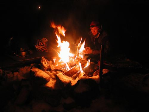 Gourmet dinner on camping stoves