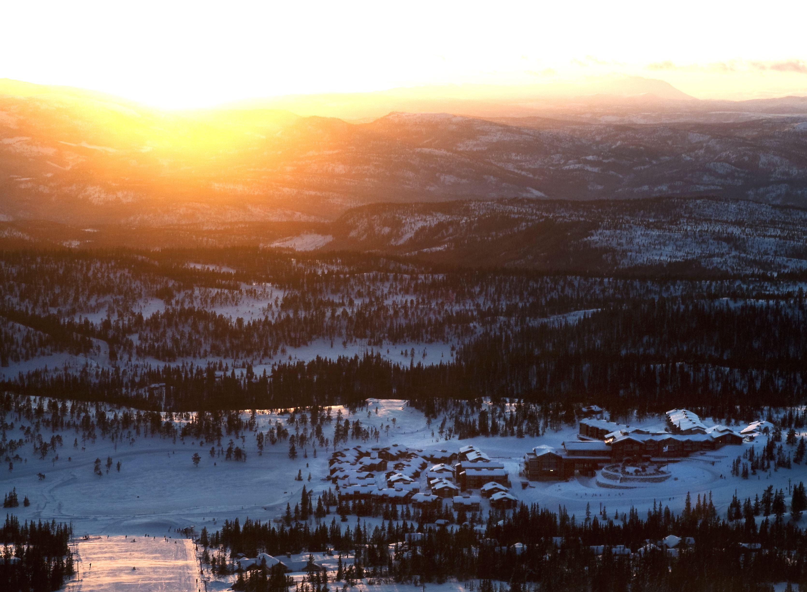 Solnedgang fra slalombakken