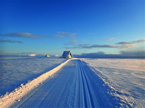 Ny opp trøkket skiløype, som fører til en liten snø dekket gamme på venstre side. Himmelen er lettskyet og blå i bakgrunnen av gammen. Du ser solen reflekterer i den hvite snøen.