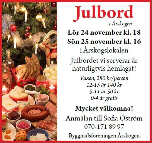 Julbord - Årskogslokalen