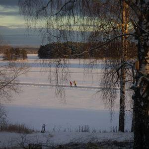 Vinterutsikt med skridskoåkare på sjön.
