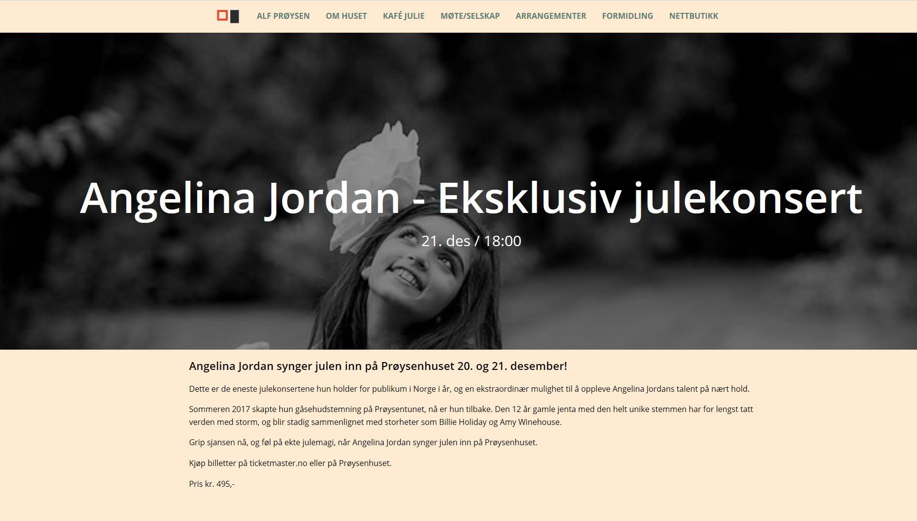 Angelina Jordan synger julen inn på Prøysenhuset
