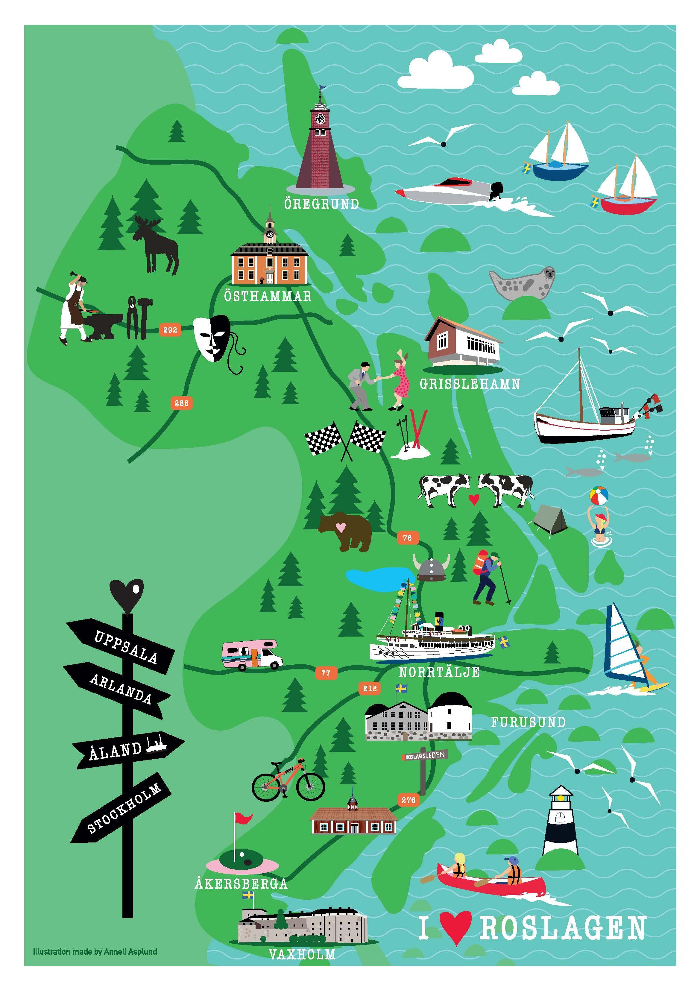Poster - Roslagenkarta (2 olika storlekar)
