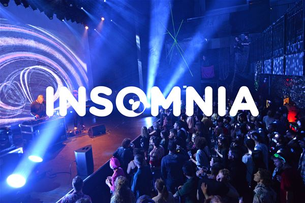 © Insomniafestivalen, From concert with Insomnia logo in front