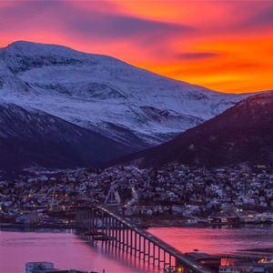© arktisk filharmoni, tromsø bridge and main land with sunset colors