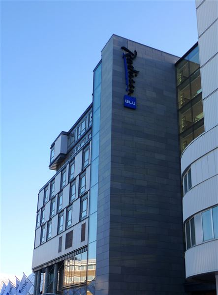 © radisson blu, the hotels logo on the hotel building