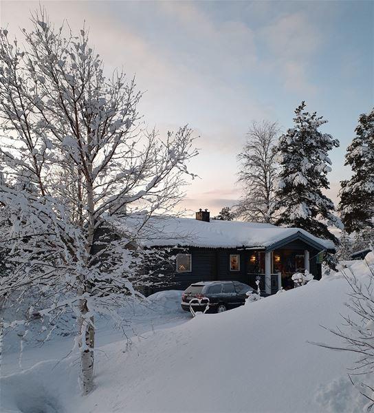 Framsidan av huset i timmer.