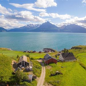 © Dyrøy Holiday, Drone photo view over Dyrøy Holiday, sea and mountains