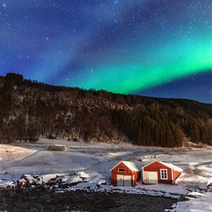 David Rocaberti,  © Dyrøy Holiday, Northern Lights over farm and forest
