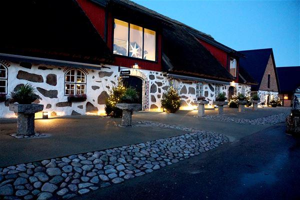 Julpyntad byggnad på Eriksberg