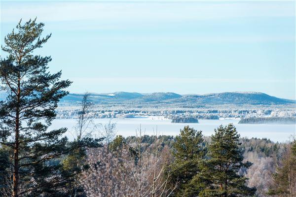 Utsikt över is på Orsasjön.