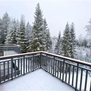 Balkong med utsikt över skogen.
