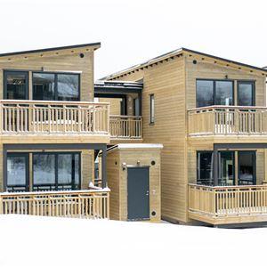 Hus i två våningar med lägenheter.