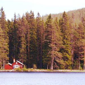 Rödmålad stuga på andra sidan sjön.