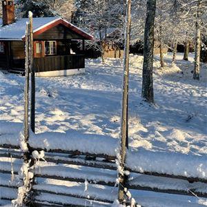 Snötäckt gärdesgård framför en grå timmerstuga.