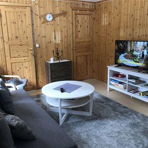 Vardagsrum med soffa och TV i Lillstugan.