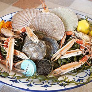 Skaldjursplatå med havskräftor, pilgrimsmusslor, ostron och störkaviar.