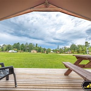 Utsikt över camping inifrån ett glampingtält.