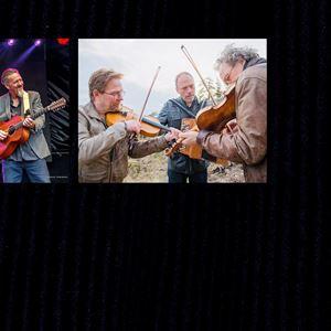 Collage på gruppen Rena Rama med en gitarrspelare och tre män som spelar fiol och dragspel.fiol och en