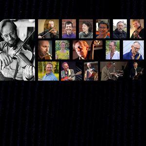 Collage på Jonas Röjås som spelar fiol samt flertalet medverkande personer.