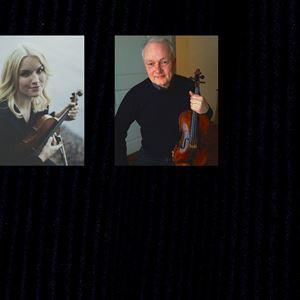 Collage på Anna Ekborg och Anders Jakobsson med varsin fiol i handen.