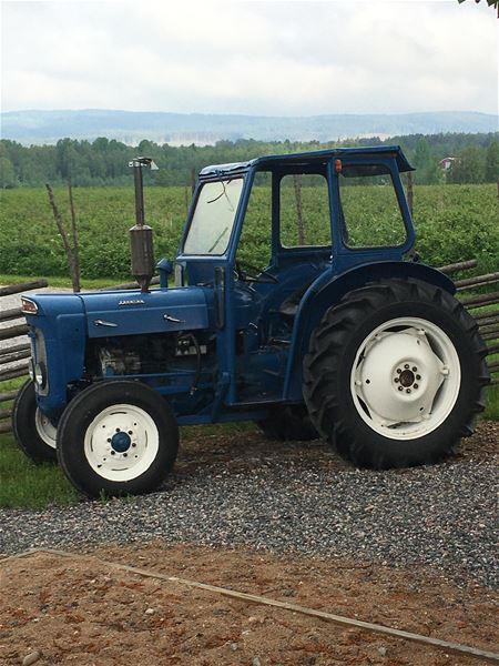 En blå traktor på en grusgång, i bakgrunden en jordgubbsodling.