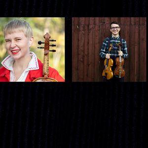 Collage på Magdalena Eriksson och Isak Eriksson, båda med en fiol i handen.