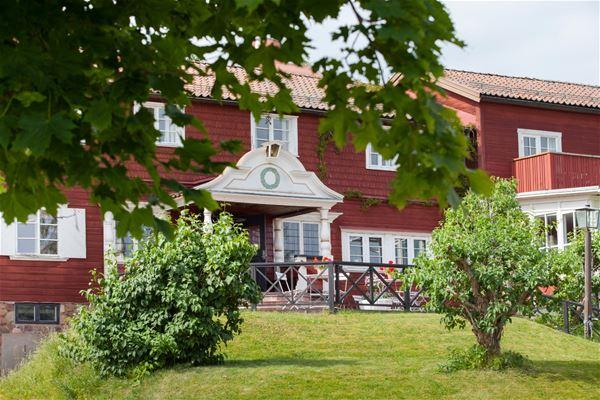 Hotellets entré med löv från ett träd som hänger ner.