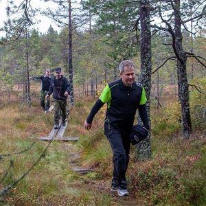 Tre personer som går på en vandringsstig i skogen.